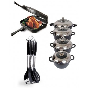 8 non stick pots +12inch 1 double pan + 6 spoons