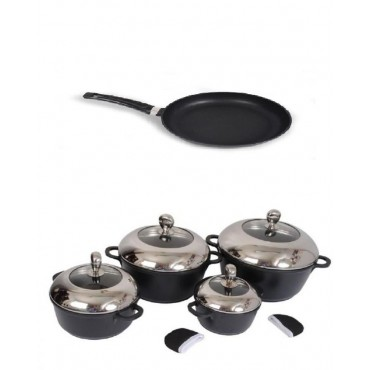 10 Pcs - Nonstick Cooking Pot- 32 Cm Frying Pan Set
