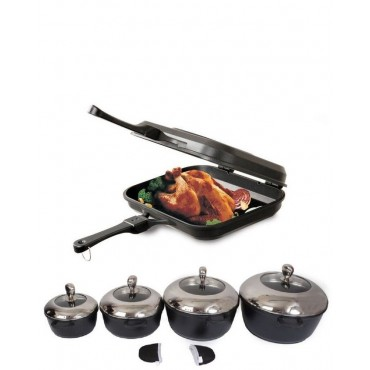 2 in 1 Double pan - 10 pcs nonstick cooking pots - Set